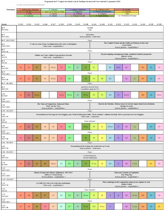 Grille horaire détaillée - 9 au 11 septembre